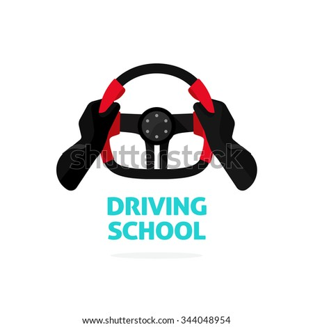 Driving school symbol logo template, hands holding steering wheel, trip concept, guide, equipment, rudder, handlebar, extreme driving, training. flat style, modern design vector illustration isolated - stock vector
