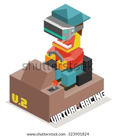 Driving Simulation with Virtual Reality - stock vector