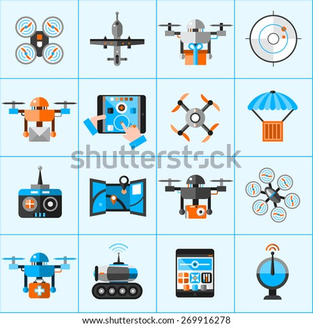 Drone automatic flying surveillance camera icons set isolated vector illustration - stock vector