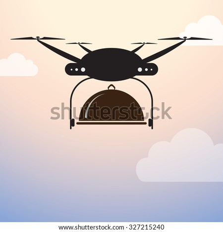 Drone Delivery - Food in Cloche - stock vector