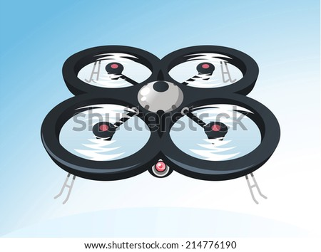 Drone Drones Flying above view, vector illustration cartoon. - stock vector