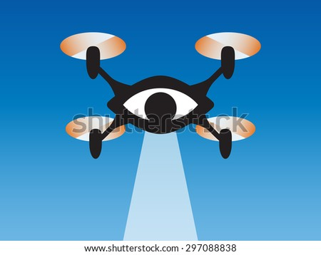 Drone eye watching you. Quadcopter symbol in flat design. Vector illustration. - stock vector