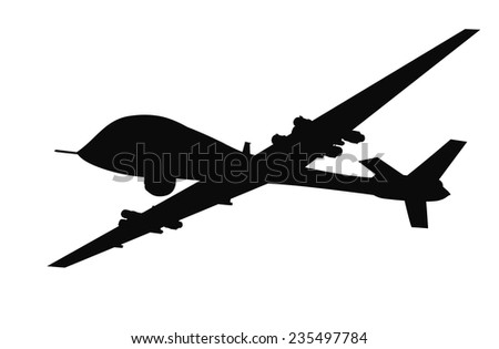 Drone flying vector silhouette. EPS 8 - stock vector