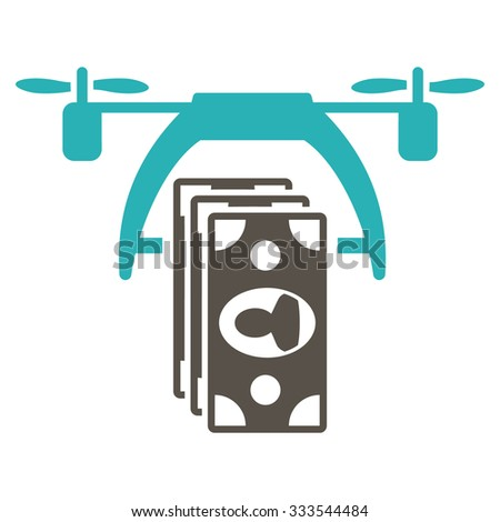 Drone Payment vector icon. Style is bicolor flat symbol, grey and cyan colors, rounded angles, white background. - stock vector