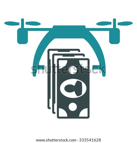 Drone Payment vector icon. Style is bicolor flat symbol, soft blue colors, rounded angles, white background. - stock vector