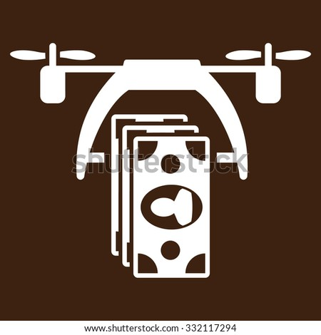 Drone Payment vector icon. Style is flat symbol, white color, rounded angles, brown background. - stock vector