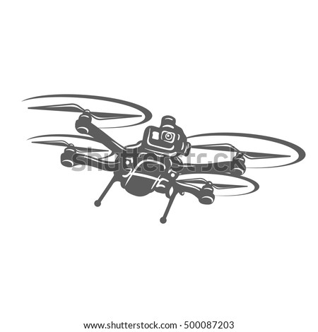 Drone Quadcopter Camera Club Emblem Logo Great Design Drones Icon Vector IIllustration
