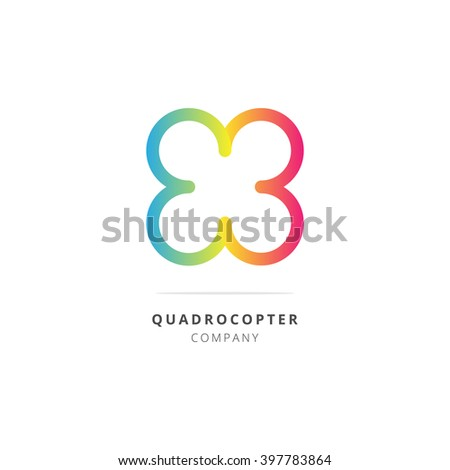 Drone quadrocopter colorful logotype. Vector illustration