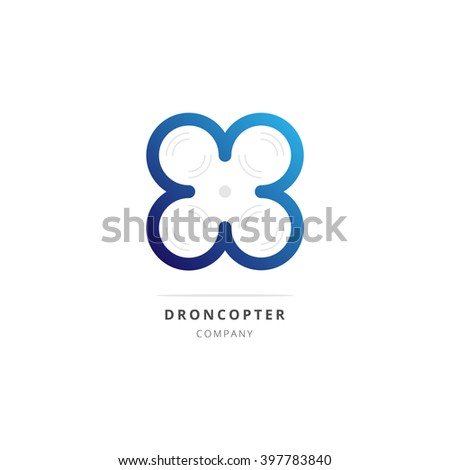 Drone quadrocopter logotype with blue gradient. Vector illustration