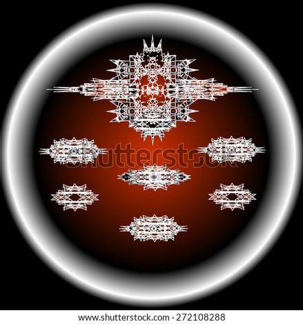 Drone set design of alien spacecraft for science fiction backgrounds, interstellar space vector,set1 - stock vector