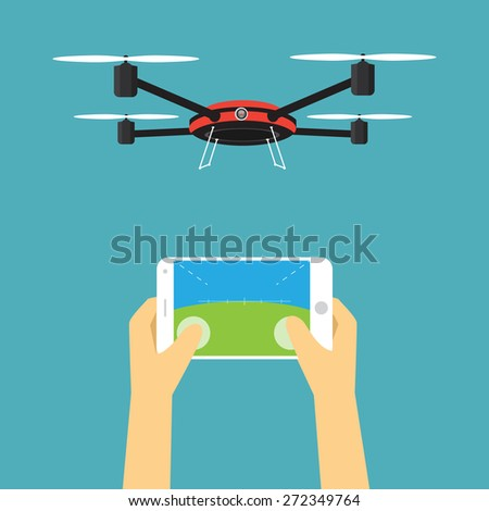 Drone with smartphone is remote control - stock vector