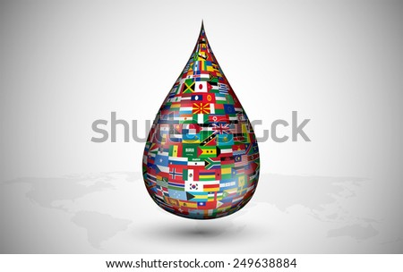 drop consisting of the flags of all the countries - stock vector