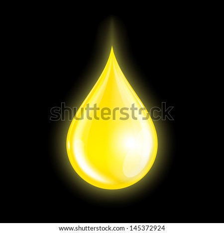 Drop of oil isolated on dark background. Vector illustration - stock vector
