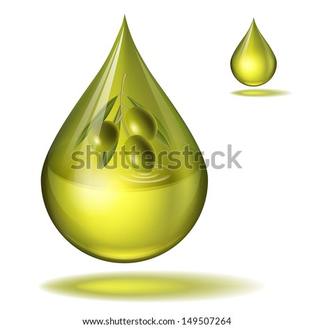 drop of olive oil with olives inside. All effects are created with transparency and mesh.  - stock vector