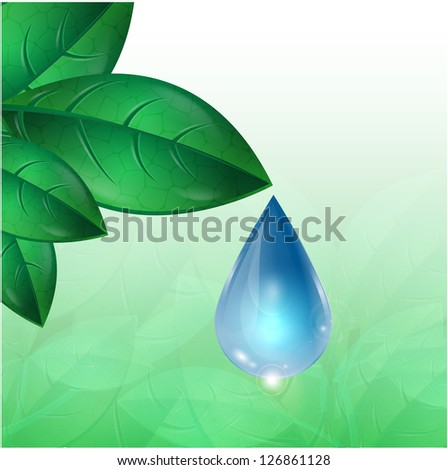 drop of water flowing down from green leaves - stock vector