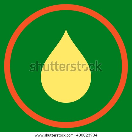 Drop vector icon. Style is bicolor flat rounded iconic symbol, drop icon is drawn with orange and yellow colors on a green background. - stock vector