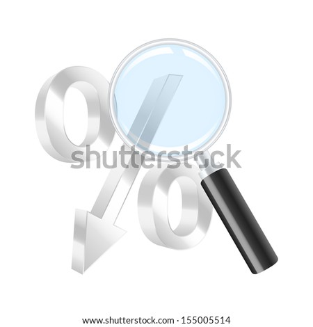 Dropping percent symbol and magnifying glass. Vector illustration. - stock vector