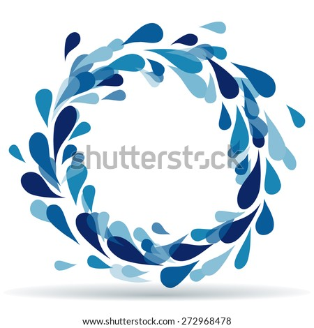 Drops in circle - whirlpool  - stock vector