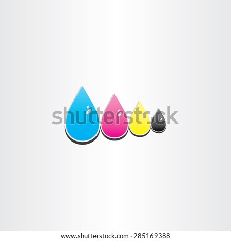 drops of cmyk ink printing symbol design - stock vector