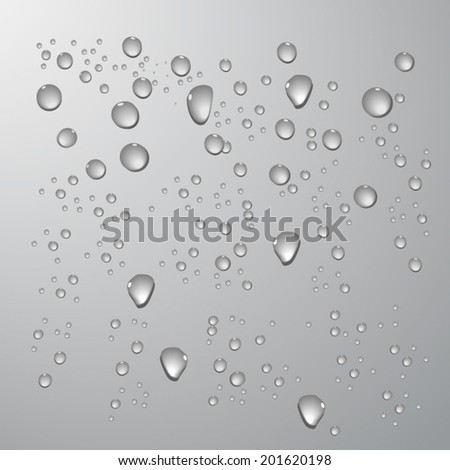 Drops of cool realistic vector in grey background - stock vector