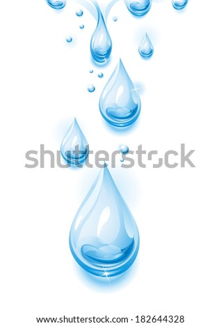Drops of pure, transparent water. Vector illustration. - stock vector