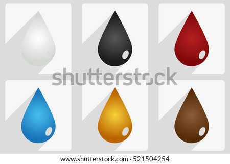 drops set, vector illustration with drops in different colors