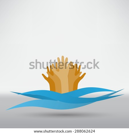 Drowning and reaching out hand for help - stock vector
