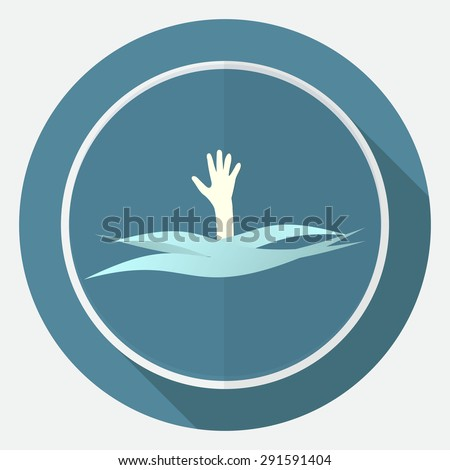 Drowning and reaching out hand for help a long shadow - stock vector