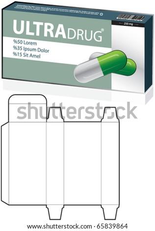 drug box, Cardboard box - stock vector