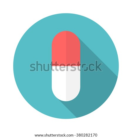 Drug icon with long shadow. Flat design style. Round icon. Pill silhouette. Simple circle icon. Modern flat icon in stylish colors. Web site page and mobile app design element. - stock vector
