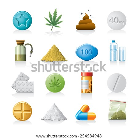 Drug icons - stock vector