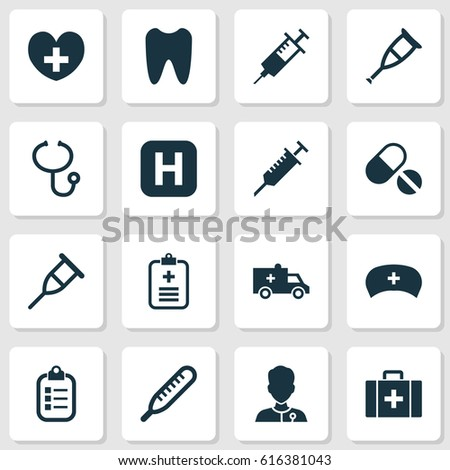Drug Icons Set. Collection Of Chest, Mercury, Heal And Other Elements. Also Includes Symbols Such As Nurse, Crutch, Heart.