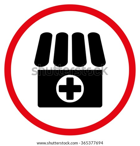 Drug Shop vector icon. Style is bicolor flat circled symbol, intensive red and black colors, rounded angles, white background. - stock vector