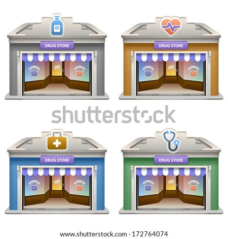 Drug Store. Vector icon set. Eps 10. - stock vector