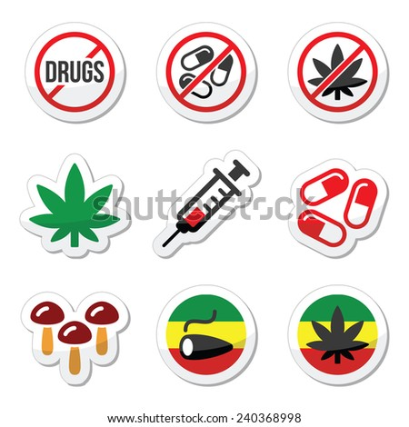Drugs, addiction, marijuana, syringe colorful labels set - stock vector