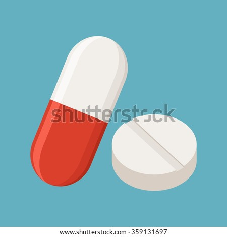 Drugs and Pills on blue background, Medical pill, Tablet symbol. Vector Illustration.