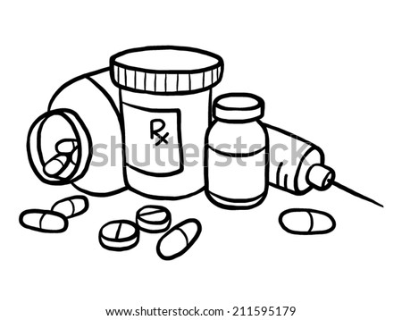 drugs cartoon vector illustration black white stock vector hd rh shutterstock com Med Bottle Clip Art Baby Bottle Clip Art