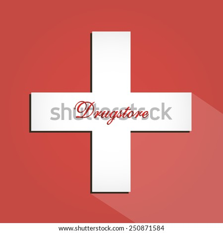 Drugstore icon with white cross sign on red background illustration - stock vector