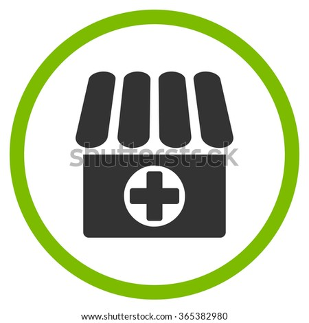 Drugstore vector icon. Style is bicolor flat circled symbol, eco green and gray colors, rounded angles, white background. - stock vector