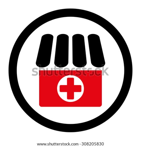 Drugstore vector icon. This rounded flat symbol is drawn with intensive red and black colors on a white background. - stock vector