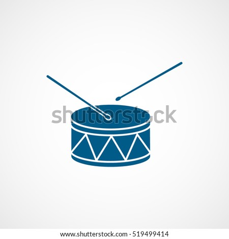 Drum Blue Flat Icon On White Background