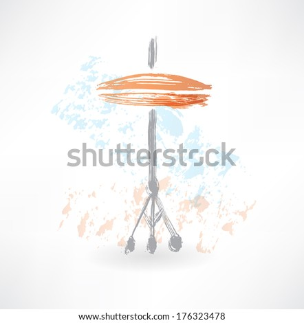 drum cymbals grunge icon - stock vector