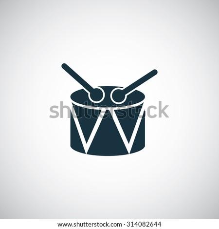 drum icon, on white background - stock vector