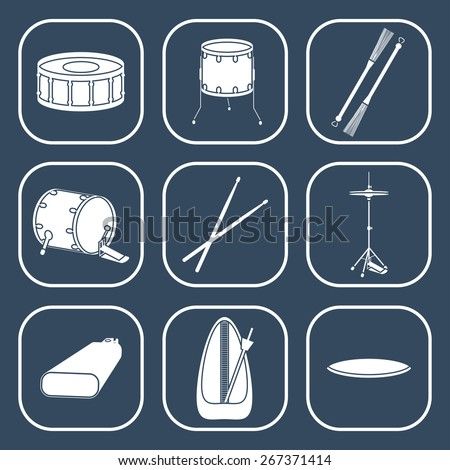Drum icons. Silhouette. Flat design. vector illustration - stock vector