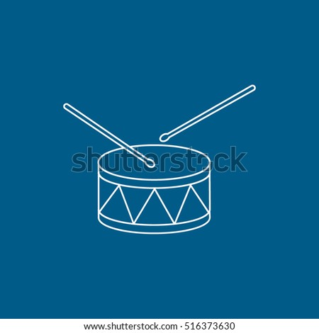 Drum Line Icon On Blue Background