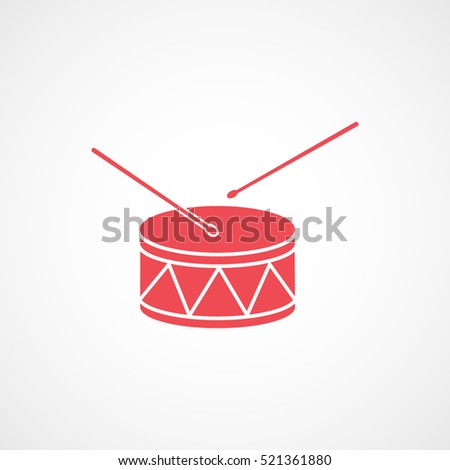 Drum Red Flat Icon On White Background