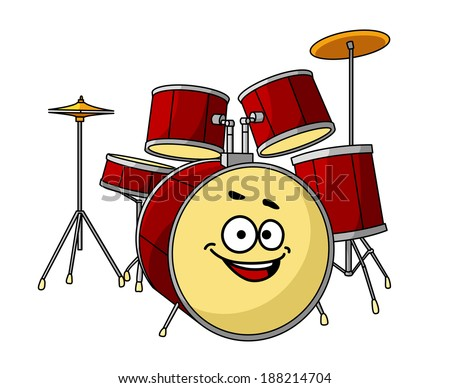 Drum set for a musical performance with a band with the drum in the foreground having a big happy laughing smile - stock vector