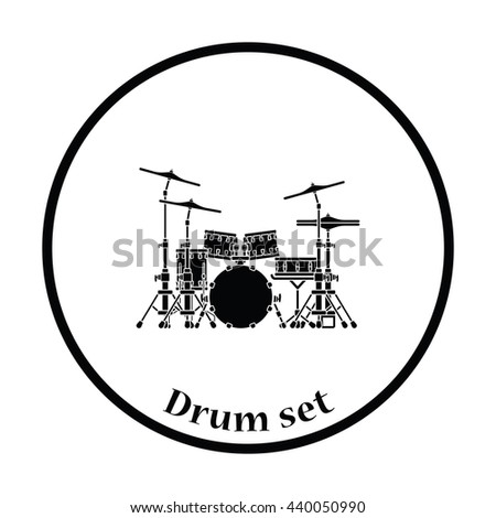 Drum set icon. Thin circle design. Vector illustration. - stock vector
