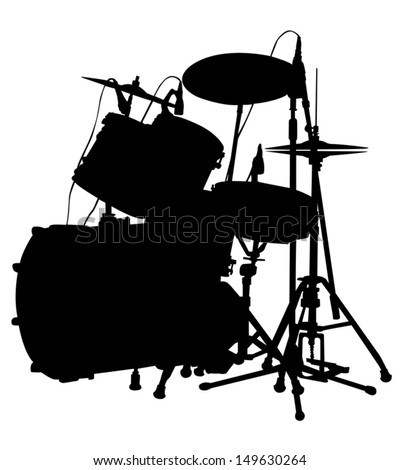 Drum set is on the scene. silhouette, vector