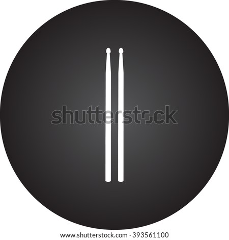 Drum sticks  simple icon on round background - stock vector